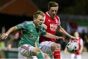 15 February 2019; Conor McCormack of Cork City in action against Chris Forrester of St Patrick's Athletic during the SSE Airtricity League Premier Division match between St Patrick's Athletic and Cork City at Richmond Park in Dublin. Photo by Michael Ryan/Sportsfile