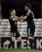 15 February 2019; Dinny Corcoran of Bohemians, right, celebrates after scoring his side's first goal, with team-mate Darragh Leahy during the SSE Airtricity League Premier Division match between Bohemians and Finn Harps at Dalymount Park in Dublin. Photo by Tom Beary/Sportsfile