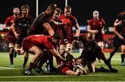 15 February 2019; Jean Kleyn of Munster scores his side's fifth try despite the efforts of Sarel Pretorius of Southern Kings during the Guinness PRO14 Round 15 match between Munster and Southern Kings at Irish Independent Park in Cork. Photo by Diarmuid Greene/Sportsfile