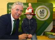 15 February 2019; FAI Chief Executive John Delaney with Harry O'Grady, son of former Sligo Rovers captain Conor O'Grady, wearing the famous bowler worn by Frazer Browne to the 1939 Cup Final, in attendance at the Sligo launch of the National Football Exhibition at City Hall in Sligo. Photo by Peter Wilcock/Sportsfile
