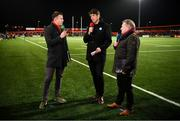 15 February 2019; Tommy Bowe, left, Donncha O'Callaghan, centre, and Eddie O'Sullivan of Eir Sport during half-time of the Guinness PRO14 Round 15 match between Munster and Southern Kings at Irish Independent Park in Cork. Photo by Diarmuid Greene/Sportsfile