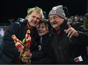 15 February 2019; Sligo Rovers manager Liam Buckley, left, celebrates with Sligo Rovers supporters Sue Brennan, centre, and Jim Lynch following the SSE Airtricity League Premier Division match between Dundalk and Sligo Rovers at Oriel Park in Dundalk, Louth. Photo by Ben McShane/Sportsfile