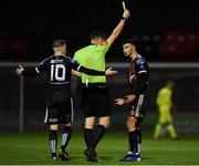 15 February 2019; Danny Mandroiu of Bohemians is shown a yellow card by referee Paul McLaughlin during the SSE Airtricity League Premier Division match between Bohemians and Finn Harps at Dalymount Park in Dublin. Photo by Tom Beary/Sportsfile