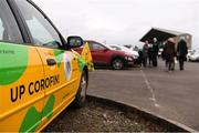 16 February 2019; A car painted in the Corofin colours is seen outside the ground prior to the AIB GAA Football All-Ireland Senior Championship Semi-Final match between Corofin, Galway, and Gaoth Dobhair, Donegal, at Avantcard Páirc Sean Mac Diarmada in Carrick-on-Shannon, Leitrim. Photo by Stephen McCarthy/Sportsfile