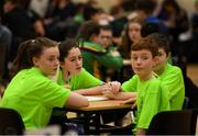16 February 2019; Clare team from Wolfe Tones na Sionna, Millie Keane, Ronan Walsh, Shane Mulrooney and Darragh Riordan taking part in the Tráth na gCéisteann Boird during the Cream of The Crop at Scór na nÓg All Ireland Finals at St Gerards De La Salle Secondary School in Castlebar, Co Mayo. Photo by Eóin Noonan/Sportsfile