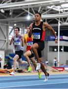 16 February 2019; Leon Reid of Menapians AC, Co. Wexford, competing in the 60m event  during day 1 of the Irish Life Health National Senior Indoor Athletics Championships at the National Indoor Arena in Abbotstown, Dublin. Photo by Sam Barnes/Sportsfile