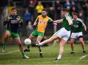 16 February 2019; Caoimhín Ó Casaide of Gaoth Dobhair shoots to score his side's first goal past Corofin goalkeeper Bernard Power during the AIB GAA Football All-Ireland Senior Championship Semi-Final match between Corofin, Galway, and Gaoth Dobhair, Donegal, at Avantcard Páirc Sean Mac Diarmada in Carrick-on-Shannon, Leitrim. Photo by Stephen McCarthy/Sportsfile