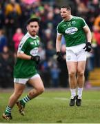 16 February 2019; Caoimhín Ó Casaide of Gaoth Dobhair celebrates scoring his side's first goal during the AIB GAA Football All-Ireland Senior Championship Semi-Final match between Corofin, Galway, and Gaoth Dobhair, Donegal, at Avantcard Páirc Sean Mac Diarmada in Carrick-on-Shannon, Leitrim. Photo by Stephen McCarthy/Sportsfile