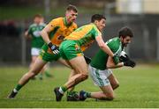 16 February 2019; Odhrán Mac Niallais of Gaoth Dobhair in action against Daithí Burke and Liam Silke, left, of Corofin during the AIB GAA Football All-Ireland Senior Championship Semi-Final match between Corofin, Galway, and Gaoth Dobhair, Donegal, at Avantcard Páirc Sean Mac Diarmada in Carrick-on-Shannon, Leitrim. Photo by Stephen McCarthy/Sportsfile