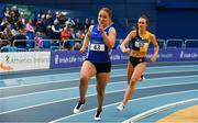16 February 2019; Catherine McManus of Dublin City Harriers AC, Co. Dublin, left, and Ciara Deely of Kilkenny City Harriers AC, Co. Kilkenny, competing in the Women's 400m event during day 1 of the Irish Life Health National Senior Indoor Athletics Championships at the National Indoor Arena in Abbotstown, Dublin. Photo by Sam Barnes/Sportsfile