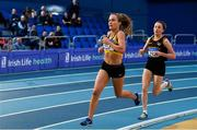 16 February 2019; Michelle Finn of Leevale AC, Co. Cork, left,  and Sarah Healy of Blackrock AC, Co. Dublin, competing in the Women's 3000m event during day 1 of the Irish Life Health National Senior Indoor Athletics Championships at the National Indoor Arena in Abbotstown, Dublin. Photo by Sam Barnes/Sportsfile