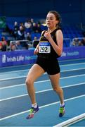 16 February 2019; Sarah Healy of Blackrock AC, Co. Dublin, competing in the Women's 3000m event  during day 1 of the Irish Life Health National Senior Indoor Athletics Championships at the National Indoor Arena in Abbotstown, Dublin. Photo by Sam Barnes/Sportsfile
