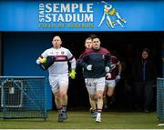 16 February 2019; Mullinalaghta St Columba's captain Shane Mulligan, right, leads his side out prior to the AIB GAA Football All-Ireland Senior Club Championship Semi-Final match between Mullinalaghta St Columba's and Dr Crokes at Semple Stadium in Thurles, Tipperary. Photo by Seb Daly/Sportsfile