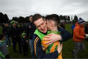 16 February 2019; Corofin manager Kevin O'Brien with Gavin Burke following the AIB GAA Football All-Ireland Senior Championship Semi-Final match between Corofin, Galway, and Gaoth Dobhair, Donegal, at Avantcard Páirc Sean Mac Diarmada in Carrick-on-Shannon, Leitrim. Photo by Stephen McCarthy/Sportsfile