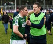 16 February 2019; Caoimhín Ó Casaide of Gaoth Dobhair and Corofin manager Kevin O'Brien following the AIB GAA Football All-Ireland Senior Championship Semi-Final match between Corofin, Galway, and Gaoth Dobhair, Donegal, at Avantcard Páirc Sean Mac Diarmada in Carrick-on-Shannon, Leitrim. Photo by Stephen McCarthy/Sportsfile
