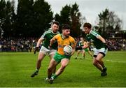 16 February 2019; Martin Farragher of Corofin in action against Niall Ó Frighil, left, and Criostóir Mac Pháidín of Gaoth Dobhair during the AIB GAA Football All-Ireland Senior Championship Semi-Final match between Corofin, Galway, and Gaoth Dobhair, Donegal, at Avantcard Páirc Sean Mac Diarmada in Carrick-on-Shannon, Leitrim. Photo by Stephen McCarthy/Sportsfile