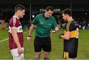 16 February 2019; Referee Seán Hurson with captains Shane Mulligan of Mullinalaghta St Columba's, left, and John Payne of Dr Crokes during the coin toss prior to the AIB GAA Football All-Ireland Senior Club Championship Semi-Final match between Mullinalaghta St Columba's and Dr Crokes at Semple Stadium in Thurles, Tipperary. Photo by Seb Daly/Sportsfile