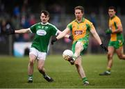 16 February 2019; Gary Sice of Corofin in action against Gary Mac Pháidín of Gaoth Dobhair during the AIB GAA Football All-Ireland Senior Championship Semi-Final match between Corofin, Galway, and Gaoth Dobhair, Donegal, at Avantcard Páirc Sean Mac Diarmada in Carrick-on-Shannon, Leitrim. Photo by Stephen McCarthy/Sportsfile