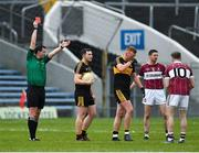 16 February 2019; Johnny Buckley of Dr Crokes, right, is shown a red card by referee Seán Hurson during the AIB GAA Football All-Ireland Senior Club Championship Semi-Final match between Mullinalaghta St Columba's and Dr Crokes at Semple Stadium in Thurles, Tipperary. Photo by Seb Daly/Sportsfile
