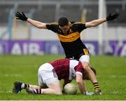 16 February 2019; Gary Rogers of Mullinalaghta St Columba's in action against Brian Looney of Dr Crokes during the AIB GAA Football All-Ireland Senior Club Championship Semi-Final match between Mullinalaghta St Columba's and Dr Crokes at Semple Stadium in Thurles, Tipperary. Photo by Seb Daly/Sportsfile