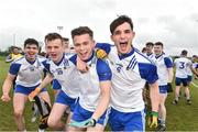 16 February 2019; Letterkenny IT players from left John Campbell, Dermot McGlynn, Shea Doherty and Callum Gallagher celebrate after the Electric Ireland HE GAA Trench Cup Final match between Letterkenny IT and Dundalk IT at Mallow GAA in Mallow, Cork. Photo by Matt Browne/Sportsfile