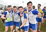 16 February 2019; Letterkenny IT players from left Ryan McMahon, Dermot McGlynn, Shea Doherty and Callum Gallagher celebrate after the Electric Ireland HE GAA Trench Cup Final match between Letterkenny IT and Dundalk IT at Mallow GAA in Mallow, Cork. Photo by Matt Browne/Sportsfile