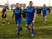 16 February 2019; Michael Bent, left, and Jack McGrath of Leinster following the Guinness PRO14 Round 15 match between Zebre and Leinster at the Luigi Zaffanella Stadium in Viadana, Italy. Photo by Ramsey Cardy/Sportsfile