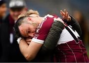 16 February 2019; Aidan McElligott of Mullinalaghta St Columba's is consoled by a supporter following his side's defeat during the AIB GAA Football All-Ireland Senior Club Championship Semi-Final match between Mullinalaghta St Columba's and Dr Crokes at Semple Stadium in Thurles, Tipperary. Photo by Seb Daly/Sportsfile