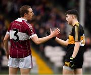 16 February 2019; Patrick Fox of Mullinalaghta St Columba's and Jordan Kiely of Dr Crokes shake hands following the AIB GAA Football All-Ireland Senior Club Championship Semi-Final match between Mullinalaghta St Columba's and Dr Crokes at Semple Stadium in Thurles, Tipperary. Photo by Seb Daly/Sportsfile