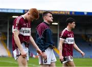 16 February 2019; Mullinalaghta St Columba's players, from left, Jayson Matthews, Aidan Brady and Rian Brady leave the field following thir side's defeat during the AIB GAA Football All-Ireland Senior Club Championship Semi-Final match between Mullinalaghta St Columba's and Dr Crokes at Semple Stadium in Thurles, Tipperary. Photo by Seb Daly/Sportsfile