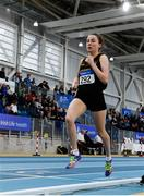 16 February 2019; Sarah Healy of Blackrock AC, Co. Dublin, competing in the Women's 3000m during day 1 of the Irish Life Health National Senior Indoor Athletics Championships at the National Indoor Arena in Abbotstown, Dublin. Photo by Sam Barnes/Sportsfile