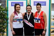 16 February 2019; Women's shot put medallists, from left, Alana Frattaroli of Limerick AC, Co. Limerick, silver, Michaela Walsh of Swinford AC, Co. Mayo, gold, and Geraldine Stewart of Tír Chonaill AC, Co. Donegal, bronze, during day 1 of the Irish Life Health National Senior Indoor Athletics Championships at the National Indoor Arena in Abbotstown, Dublin. Photo by Sam Barnes/Sportsfile