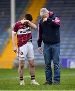 16 February 2019; Shane Mulligan of Mullinalaghta St Columba's is consoled by a supporter following his side's defeat during the AIB GAA Football All-Ireland Senior Club Championship Semi-Final match between Mullinalaghta St Columba's and Dr Crokes at Semple Stadium in Thurles, Tipperary. Photo by Seb Daly/Sportsfile
