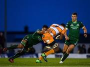 16 February 2019; Junior Pokomela of Toyota Cheetahs is tackled by Jarrad Butler of Connacht, with support from Tom Farrell of Connacht during the Guinness PRO14 Round 15 match between Connacht and Toyota Cheetahs at The Sportsground in Galway. Photo by Harry Murphy/Sportsfile