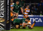 16 February 2019; Tom Farrell of Connacht goes over to score his side's first try during the Guinness PRO14 Round 15 match between Connacht and Toyota Cheetahs at The Sportsground in Galway. Photo by Harry Murphy/Sportsfile