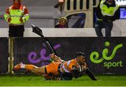 16 February 2019; Shaun Venter of Toyota Cheetahs goes over to score his sides second try despite the tackle of Jack Carty of Connacht during the Guinness PRO14 Round 15 match between Connacht and Toyota Cheetahs at The Sportsground in Galway. Photo by Harry Murphy/Sportsfile