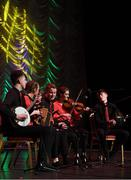 16 February 2019; Connacht team from Corofin, Galway, Caoimhe Kelly, Patrick Egan, Ryan Buckley, Eimhín Mulligan and Katie Harte competing in the Ceol Uirlise catagory during the Cream of The Crop at Scór na nÓg All Ireland Finals at St Gerards De La Salle Secondary School in Castlebar, Co Mayo. Photo by Eóin Noonan/Sportsfile