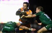 16 February 2019; William Small-Smith of Toyota Cheetahs is tackled by Kieran Marmion, left and Jack Carty of Connacht during the Guinness PRO14 Round 15 match between Connacht and Toyota Cheetahs at The Sportsground in Galway. Photo by Harry Murphy/Sportsfile