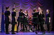16 February 2019; Leinster team from St. Joseph's, Westmeath, Katie Kelly, Ciara Daly, Kayla McDonnell, Zara Montgomery, Caoilinn Elliffe, Sarah Conlon, Joyce Conway and Sarah McCormack  competing in the Rince Seit catagory during the Cream of The Crop at Scór na nÓg All Ireland Finals at St Gerards De La Salle Secondary School in Castlebar, Co Mayo. Photo by Eóin Noonan/Sportsfile