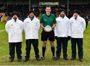 16 February 2019; Referee Seán Hurson with umpires, from left, Mel Taggart, Martin Coney, Martin Conway and Cathal Forbes prior to the AIB GAA Football All-Ireland Senior Club Championship Semi-Final match between Mullinalaghta St Columba's and Dr Crokes at Semple Stadium in Thurles, Tipperary. Photo by Seb Daly/Sportsfile
