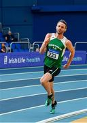 16 February 2019; Thomas Barr of Ferrybank AC, Co. Waterford, competing in the 400m event during day 1 of the Irish Life Health National Senior Indoor Athletics Championships at the National Indoor Arena in Abbotstown, Dublin. Photo by Sam Barnes/Sportsfile