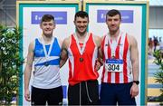 16 February 2019; Men's Pole Vault Medallists, from left, Matthew Callinan Keenan of St. L. O'Toole AC, Co. Carlow, silver, Michael Bowler, Enniscorthy A.C., Co. Wexford, gold, and Shane Aston of Trim AC, Co. Meath, bronze  during day 1 of the Irish Life Health National Senior Indoor Athletics Championships at the National Indoor Arena in Abbotstown, Dublin. Photo by Sam Barnes/Sportsfile