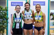 16 February 2019; Women's Long Jump medallists, from left, Lydia Mills of Ballymena & Antrim AC, Co. Antrim, silver, Ruby Millet of St. Abbans AC, Co. Carlow, gold, and Amy McTeggart of Boyne AC, Co. Louth, bronze, during day 1 of the Irish Life Health National Senior Indoor Athletics Championships at the National Indoor Arena in Abbotstown, Dublin. Photo by Sam Barnes/Sportsfile