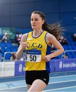 16 February 2019; Ciara Mageean of U.C.D. AC, Co. Dublin, competing in the Women's 3000m event during day 1 of the Irish Life Health National Senior Indoor Athletics Championships at the National Indoor Arena in Abbotstown, Dublin. Photo by Sam Barnes/Sportsfile