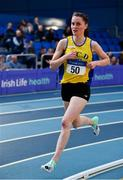 16 February 2019; Ciara Mageean of U.C.D. AC, Co. Dublin, competing in the Women's 3000m during day 1 of the Irish Life Health National Senior Indoor Athletics Championships at the National Indoor Arena in Abbotstown, Dublin. Photo by Sam Barnes/Sportsfile