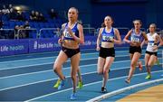 16 February 2019; Jodie McCann of Dublin City Harriers AC, Co. Dublin, competing in the Women's 3000m event during day 1 of the Irish Life Health National Senior Indoor Athletics Championships at the National Indoor Arena in Abbotstown, Dublin. Photo by Sam Barnes/Sportsfile