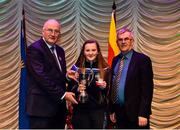 16 February 2019; Mary Kate Bonnes from Tír na nÓg, Randalstown, Antrim, representing Ulster is presented with the trophy by Uachtaráin Cumann Lúthchleas Gael John Horan alongside Aodán Ó Braonáin, Cathaoirleach, after winning the Aithriseoireacht catagory during the Cream of The Crop at Scór na nÓg All Ireland Finals at St Gerards De La Salle Secondary School in Castlebar, Co Mayo. Photo by Eóin Noonan/Sportsfile