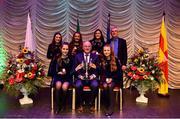 16 February 2019; Connacht team from St. Marys, Leitrim,  Ava Brogan, Roisín Noone, Elsie Harman, Eleanor Smith and Rionach Nic Conmara are presented with the trophy by Uachtaráin Cumann Lúthchleas Gael John Horan alongside Aodán Ó Braonáin, Cathaoirleach, after winning the Bailéad Ghrúpa catagory during the Cream of The Crop at Scór na nÓg All Ireland Finals at St Gerards De La Salle Secondary School in Castlebar, Co Mayo. Photo by Eóin Noonan/Sportsfile