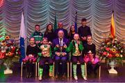 16 February 2019; Ulster team from St.Mary's, Antrim, Daniel McCavigan, Meabh McCavigan, Zara McCavigan, Eadaoin Maginn, Una Maginn, Oisin McStravick, Paddy Joe McStravick and Ciara O'Connor are presented with the trophy by Uachtaráin Cumann Lúthchleas Gael John Horan alongside Aodán Ó Braonáin, Cathaoirleach, after winning the Léiriú catagory during the Cream of The Crop at Scór na nÓg All Ireland Finals at St Gerards De La Salle Secondary School in Castlebar, Co Mayo. Photo by Eóin Noonan/Sportsfile
