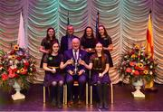 16 February 2019; Leinster team from Kilcormac-Killoughey, Offaly, Aoibhe Dooley, Verona Lynch, Aine Gleeson, Meibh Dooley and Naoise Dooley are presented with the trophy by Uachtaráin Cumann Lúthchleas Gael John Horan alongside Aodán Ó Braonáin, Cathaoirleach, after winning the Ceol Uirlise catagory during the Cream of The Crop at Scór na nÓg All Ireland Finals at St Gerards De La Salle Secondary School in Castlebar, Co Mayo. Photo by Eóin Noonan/Sportsfile